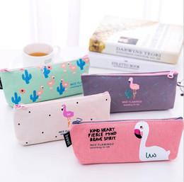$enCountryForm.capitalKeyWord Canada - Cartoon Canvas Zipper Pencil Pen Bags Stationery Cases Clutch Organizer Bag Gift Storage Pouch Flamingo coin purse makeup bags