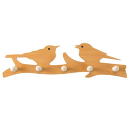 Discount decorative clothes - 1pcs Key & Decorative Hooks Wooden White LOVE Bird Hook Clothes Robe Key Holder Hat Hanger Wall Home Decoration Accessor