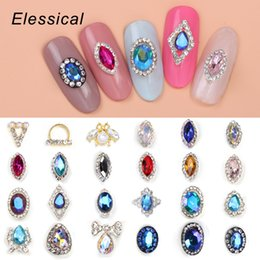 color stone charms NZ - 10Pcs Lot Glitter Gem Stone Nail Charm 3D Metal Nail Art Stickers Opal Rhinestone Paved Geometric Stud Blue Color Decor