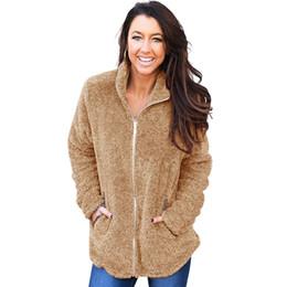 19b5f535585 Female Faux Fur Jacket Fluffy Teddy Bear Fleece Zipper Pockets Fleece Jacket  Women Warm Winter Autumn Solid Casual Coat 2018