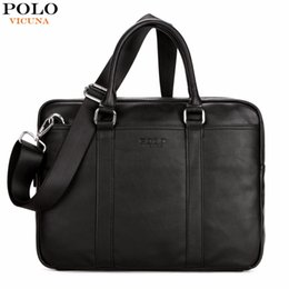 Leather computer bags online shopping - VICUNA POLO Famous Brand Fashion Casual Business Men Leather Briefcase Bag Trendy Solid Leather Mens Handbag Simple Men Bag New