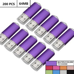 Thumb Flash Drive Australia - Purple Bulk 200PCS 64MB USB 2.0 Flash Drives Rectangle 64MB Pen Drives Flash Memory Sticks Thumb Storage for Computer Laptop Tablet Macbook