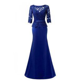 2018 элегантный королевский синий атласная оболочка мать невесты Платья Половина рукава бисером кружева длинное вечернее платье спинки вечерние платья