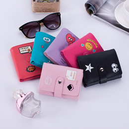 Free Style Wallets NZ - Free Shipping Ladies Cartoon Expression Mini Wallets Purses Short Style PU Leather Money Bags Six Colors Coin Purses Credit Card Holders