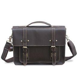 8862162fe08d YISHEN Vintage Crazy Horse Leather Men Laptop Bags Briefcase Fashion  Crossbody Bag Male Handbag Shoulder Messenger Bag MLT9019-1