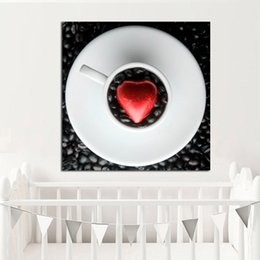 $enCountryForm.capitalKeyWord Australia - 1 Piece Love Heart Coffee Bean Canvas Art Print and Poster Canvas Painting Nordic Decoration Wall Picture for Living Room No Framed