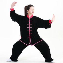 China New Fall and winter Kung Fu Uniforms long Sleeves Tai Chi Suit Martial Arts Clothing Wingchun Taiji Wear Wu Shu Performance Suit supplier taiji clothing suppliers