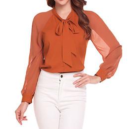 a76e71dac4f9 Black Bow tie Blouse online shopping - 2018 summer chiffon womens tops  blouses for elegant women