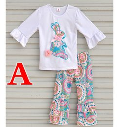 EASTER Day Xmas Spring Fall Winter Boutique Girls Outfit bianco Tshirt con  maniche a volant Top 2pz set Stampa floreale a fiori in cotone Pantalone e1db21b8122