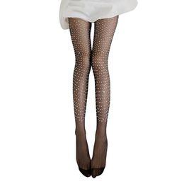 869ec4668 Wholesale Fashion Hosiery UK - sale Fashion Women Sexy Shiny Single Side  Rhinestone Tights Stockings Pantyhose