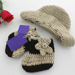 2018 crochet baby cowboy hats New Arrival Newborn Baby Photo Props Floral Pattern Cotton Material Cowboy Hat +Shoes Baby Photo Accessories Unisex High Quality crochet baby cowboy hats on sale