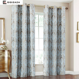 China Firefly Jacquard Window Curtains Heavy Fabric High Quality with Silver Wire Embed 65% Shading for Living room Floral Blue Color cheap jacquard window suppliers