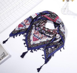 women nice scarves 2021 - Delicate colors women scarf cotton and linen printing square wraps girl nice tassels scarf folk-custom multi styles