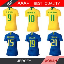 Copa do mundo de 2018 COUTINHO camisa nova camisa de futebol BrasilES KIT G.JESUS Paulinho WILLIAN casa longe uniformes de futebol