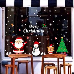 Christmas Window Stickers For Shops Canada - Christmas Wall Stickers Santa Claus And Elk Electrostatic Stickers Window Glass Wall Paste Shopping Malls And Store Poster
