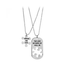 """Wholesale Pendant Sets NZ - 2Pcs Set Fashion Couple Necklace Letters ''the love between us""""Pendant Necklaces"""