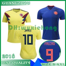 James colombia soccer Jersey online shopping - Top thailand National JAMES COLOMBIA soccer jerseys World Cup Jersey FALCAO CUADRADO BACCA Football soccer shirt camisetas maillot