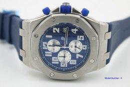 мужчины высокое качество часы 26568PM royal watch синий резиновый синий циферблат кварцевые часы на Распродаже