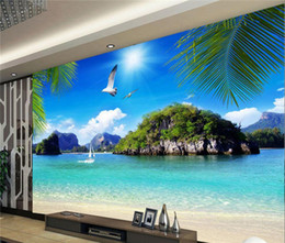 Custom printed photo baCkdrops online shopping - 3D Straw Non woven Custom Mural Wallpaper Roll Stereoscopic Nature Blue Ocean Seascape Beach Photo Wall Cover TV Sofa Backdrop