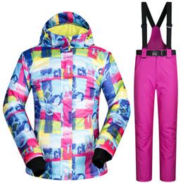 b9f1b0000aa Nuevo invierno traje de esquí de las mujeres al aire libre térmica a prueba  de viento a prueba de viento chaquetas de snowboard pantalones escalada  nieve ...