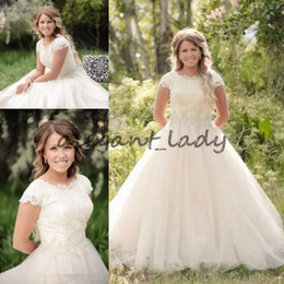 $enCountryForm.capitalKeyWord Australia - Lace Modest Wedding Dress With Illusion Scoop Neckline And Cap Sleeves Beaded Crystal Tulle A-line Wedding Gowns Covered Buttons Back
