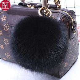 Hot Sale Trendy 100% Real Big Fox Fur Pompom Ball Keychain Fluffy Fox Fur Keyring 15cm Handbag Car KeyChains Pendant Decorations from men boxer wholesale suppliers