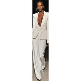 6794886e8 Chaqueta + Pantalones Marfil Trajes de negocios para mujer Blazer para mujer  Uniforme de oficina Conjunto de 2 piezas Damas Invierno Traje de pantalón  ...