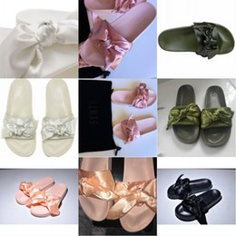 10083bb6b4d WOMENS FENTY BY RIHANNA BOW SLIDES BANDANA PINK Orange Olive Green Silver  White SUMMER SLIDERS SANDALS SHOES With Box   Bag Factory Supply