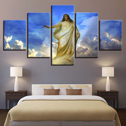 $enCountryForm.capitalKeyWord NZ - Canvas Wall Art Pictures Home Decor Living Room HD Prints 5 Pieces Jesus Christ Abstract Paintings Blue Sky White Clouds Poster