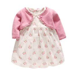 Knitting flower designs online shopping - girls dresses long sleeve Princess dress flower design girl dres knitted short coat elegant sleeve soft girl dress sets