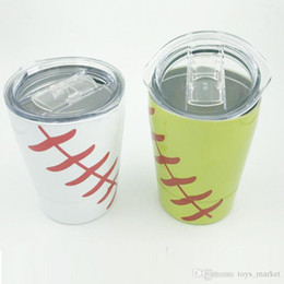 baseball mugs NZ - 9oz Tumbler Baseball wine glasses Stainless Steel Cups Travel Vehicle Beer Mug non-Vacuum mugs with straws&lids Kids cups