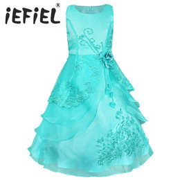 flower girls short lace dresses UK - iEFiEL Kids Girls Flower Dress Bow Formal Party Prom Princess Pageant Flower Girl Dresses for Weddings and Party Size 4-14Y