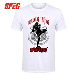 Discount shorts muay thai - Tee Shirts Muay Thai Kick Thailand Martial Art Logo Badge Men Pre-Cotton Short Sleeve T-Shirt Crazy Men's T Shirt D