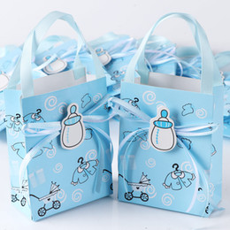 Wholesale Boxes Packaging Australia - 50Pcs Blue Pink Birthday boy baby shower Candy Box Gift Packaging Chocolate Boxes Baby Shower Favors