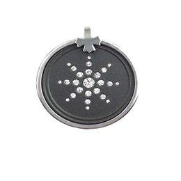 Белый кристаллический камень лавы с шкентелем суммы шарма энергии кольца нержавеющей стали био скалярным