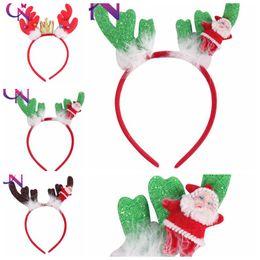 Crown stiCk online shopping - Christmas crown elk antler headband sequins headband baby girls hair sticks party performance hair accessories Headwear KKA6148