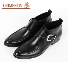 $enCountryForm.capitalKeyWord Australia - GRIMENTIN Hot sale mens boots 100% genuine leather black brown men ankle boots high quality Italian fashion dress mens formal shoes RCB