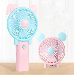 Fold mouse online shopping - Mini Folding Portable Fan Cartoon Cat Mouse USB Rechargeable Foldable Handheld Summer Air Cooler Cooling Fan Fold Fans KKA4809