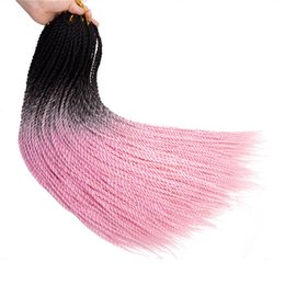 Brown Hair Braid UK - Mtmei hair 100g pack 24 inch Ombre Senegalese Twist Hair Crochetids 20Roots pack Synthetic Braiding Hair for Women grey,bonde,pink,brown