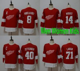 China Men Women Youth Kids Detroit Red Wings 8 Justin Abdelkader 14 Gustav Nyquist 40 Henrik Zetterberg 71 Dylan Larkin Red Jerseys All Stiched cheap nyquist jersey suppliers