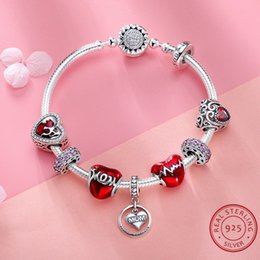 romantic tops for women 2019 - 925 Silver Jewelry 100% Real Sterling Silver Bracelet for Women Luxury Romantic Jewelry Accessories Top Quality Red Colo