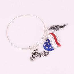 $enCountryForm.capitalKeyWord Canada - Apricot Fu Motorcycle Heart-shaped American flag wing Charm Adjustable Brass Wire Bangle Pendant Bracelet Fashion Jewelry Gift