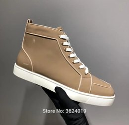 cl andgz beige Cow patent Leather Lace-Up Rivet Red bottom Shoes Sneakers  High-Cut for men Leather Loafers Flat 2018 Footwear d7592c930ce4