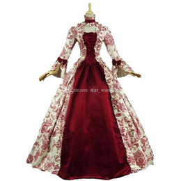 8434014327 18th Century Retro Gothic Victorian Party Dresses Red Floral Square Collar  Long Sleeve Steampunk Period Ball Gowns Customized