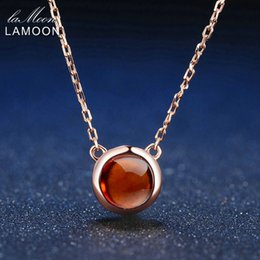 6mm Chains NZ - LAMOON 6mm 1.2ct 100% Natural Round Orange Red Garnet 925 Sterling Silver Jewelry Chain Pendant Necklace S925 LMNI026Y1882701
