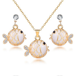 $enCountryForm.capitalKeyWord NZ - Hesiod old Color Gold Fish Pendant Necklace Wedding Jewelry Sets Crystal Rhinestone Stud Earrings for Women