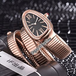 Chinese  New Serpenti Tubogas 101814 SPP35BGDG.2T Rose Gold Diamond Bezel Black Dial Swiss Quartz Womens Watch Ladies Watches Cheap BV0c32 manufacturers