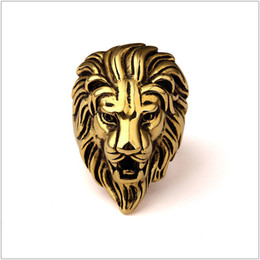 $enCountryForm.capitalKeyWord Australia - New Titanium Lion Face Gold Rings Hipsters Men Women Hip Hop Bijoux Street Dancing Nightclub Punk Finger Jewelry