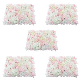 China 5 Pieces Artificial Flower Wall Panel Wedding Venue Flower Decor Pink suppliers