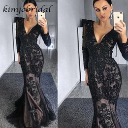 transparent nude prom dresses Australia - Black Evening Dresses Deep V Neck Long Transparent Sleeve Mermaid Lace Evening Gowns Prom Dresses Arabic